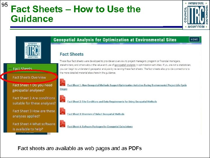 95 Fact Sheets – How to Use the Guidance Fact sheets are available as