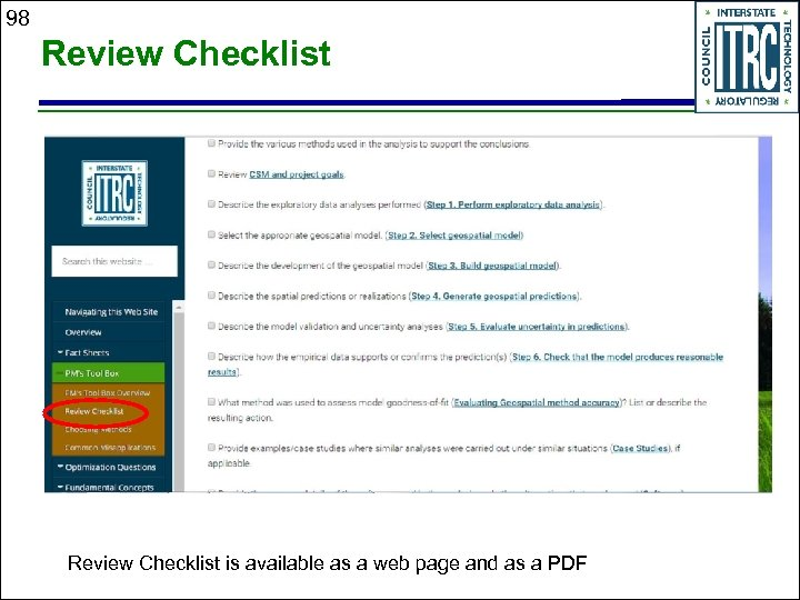 98 Review Checklist is available as a web page and as a PDF