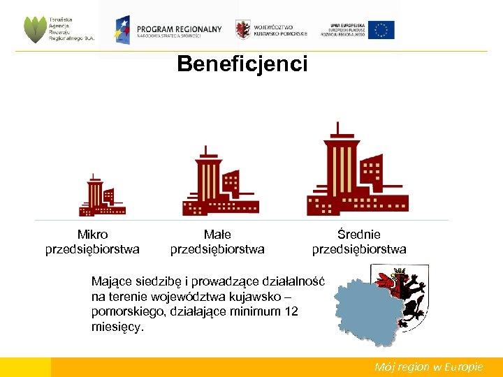 Beneficjenci Mikro przedsiębiorstwa Małe przedsiębiorstwa Średnie przedsiębiorstwa Mające siedzibę i prowadzące działalność na terenie