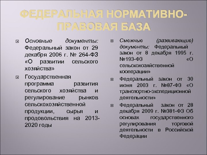 ФЕДЕРАЛЬНАЯ НОРМАТИВНОПРАВОВАЯ БАЗА Основные документы: Федеральный закон от 29 декабря 2006 г. № 264