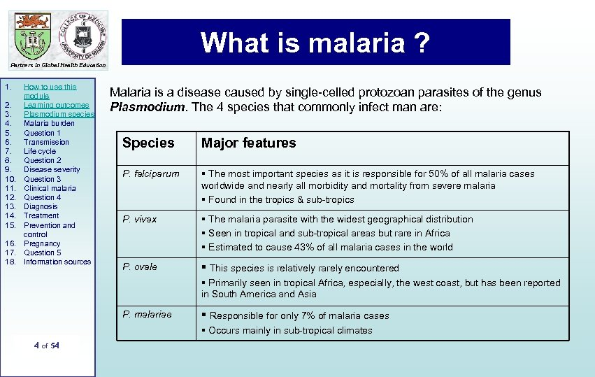 What is malaria ? Partners in Global Health Education 1. 2. 3. 4. 5.