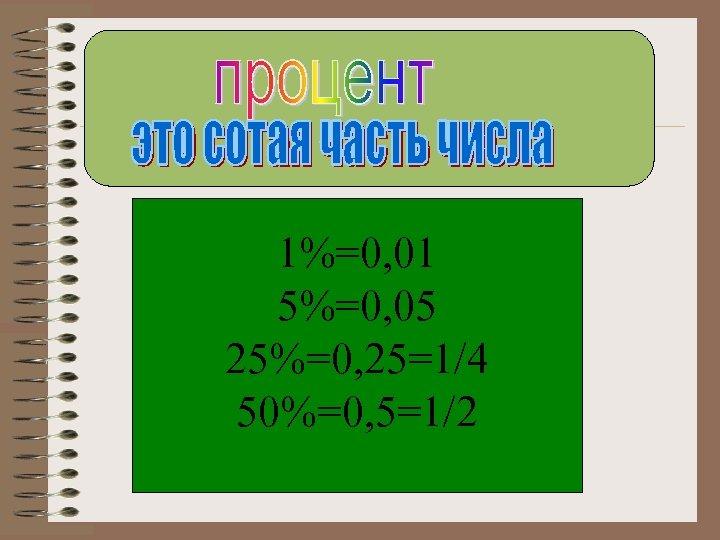 1%=0, 01 5%=0, 05 25%=0, 25=1/4 50%=0, 5=1/2