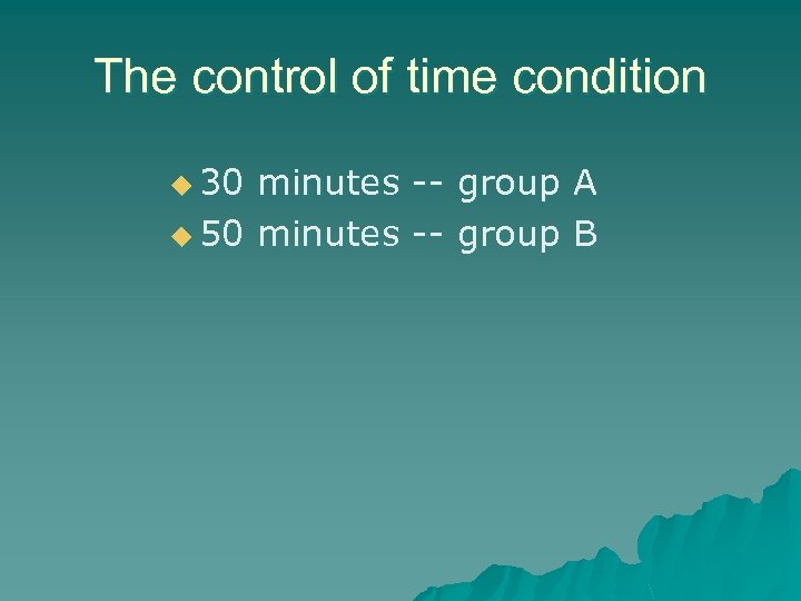 The control of time condition u 30 minutes -- group A u 50 minutes
