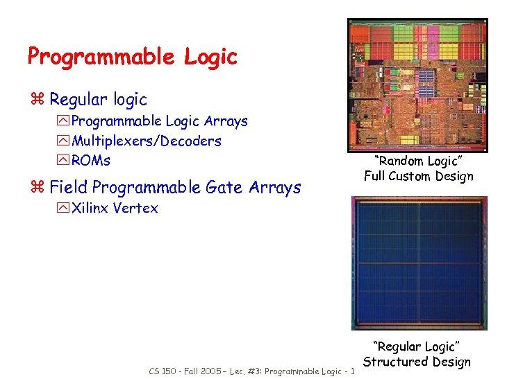 Programmable Logic z Regular logic y Programmable Logic Arrays y Multiplexers/Decoders y ROMs z