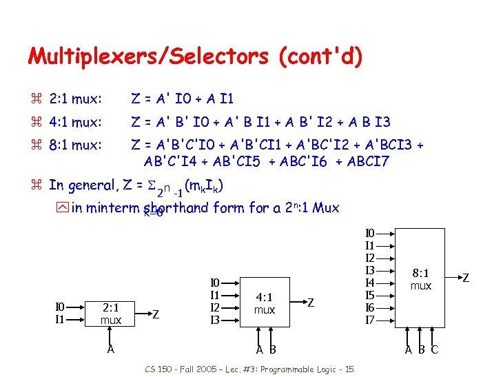 Multiplexers/Selectors (cont'd) z 2: 1 mux: Z = A' I 0 + A I
