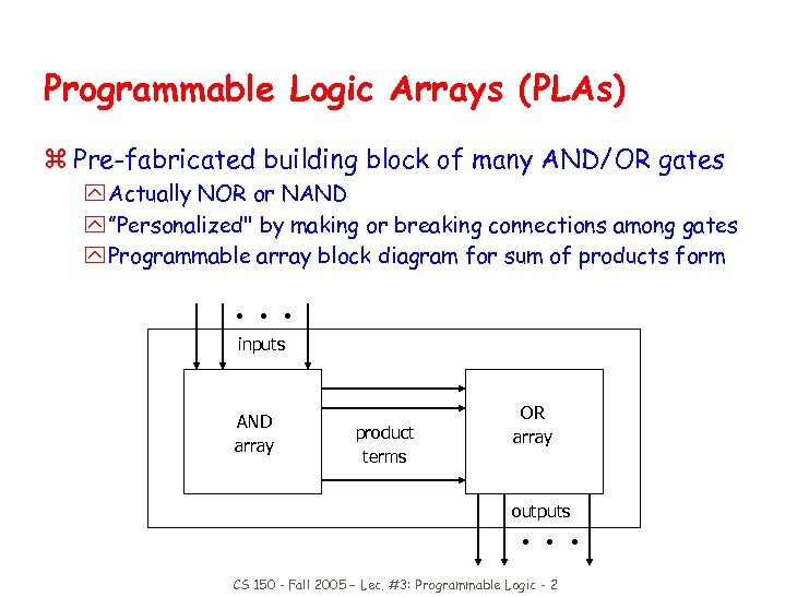 Programmable Logic Arrays (PLAs) z Pre-fabricated building block of many AND/OR gates y Actually