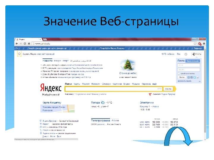 Значение Веб-страницы