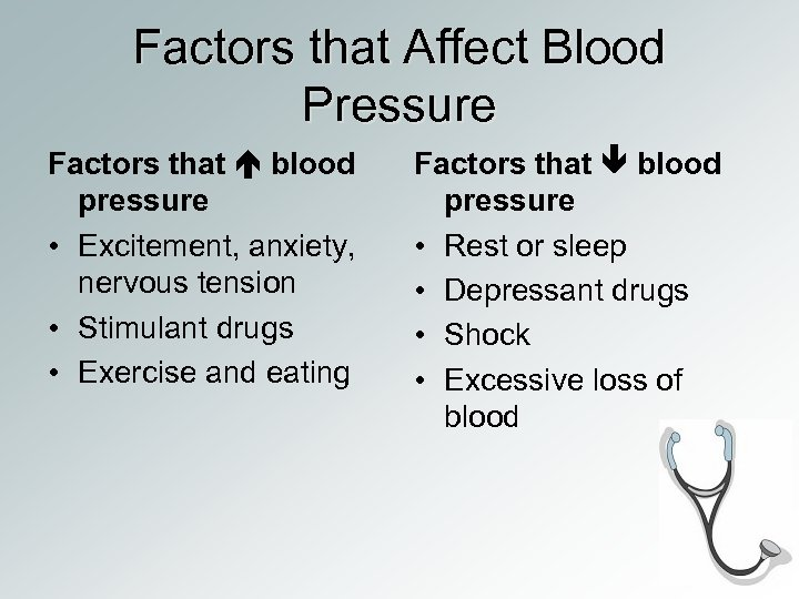 Factors that Affect Blood Pressure Factors that blood pressure • Excitement, anxiety, nervous tension