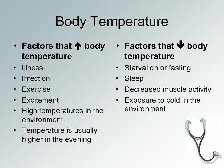 Body Temperature • Factors that body temperature • • • Illness Infection Exercise Excitement