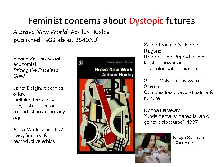 Feminist concerns about Dystopic futures A Brave New World, Adolus Huxley published 1932 about