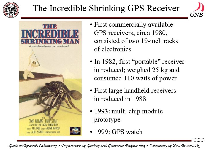 The Incredible Shrinking GPS Receiver • First commercially available GPS receivers, circa 1980, consisted