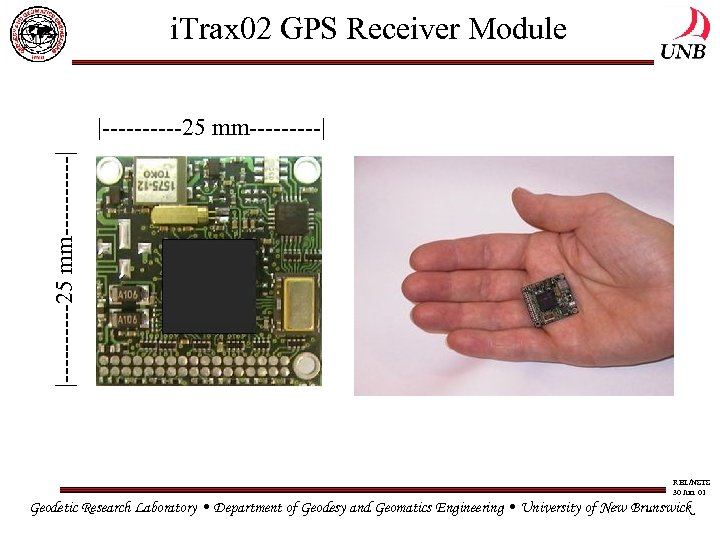 i. Trax 02 GPS Receiver Module |-----25 mm-----| RBL/NSTS 30 Jun. 01 Geodetic Research