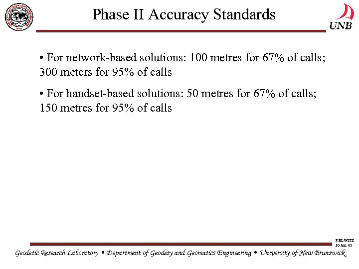 Phase II Accuracy Standards • For network-based solutions: 100 metres for 67% of calls;