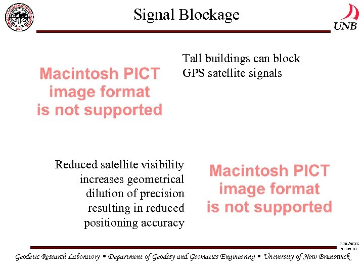 Signal Blockage Tall buildings can block GPS satellite signals Reduced satellite visibility increases geometrical