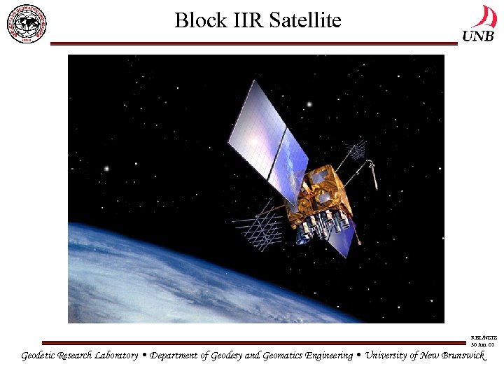 Block IIR Satellite RBL/NSTS 30 Jun. 01 Geodetic Research Laboratory • Department of Geodesy