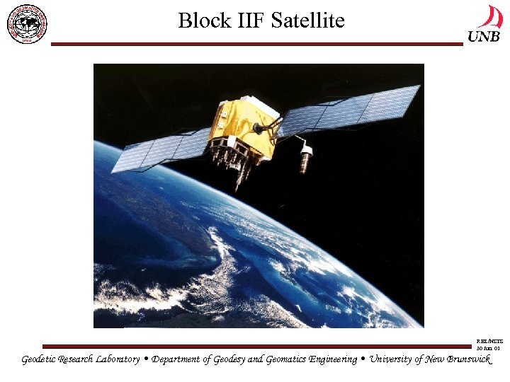 Block IIF Satellite RBL/NSTS 30 Jun. 01 Geodetic Research Laboratory • Department of Geodesy