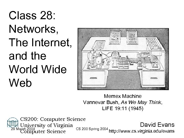 Class 28: Networks, The Internet, and the World Wide Web Memex Machine Vannevar Bush,