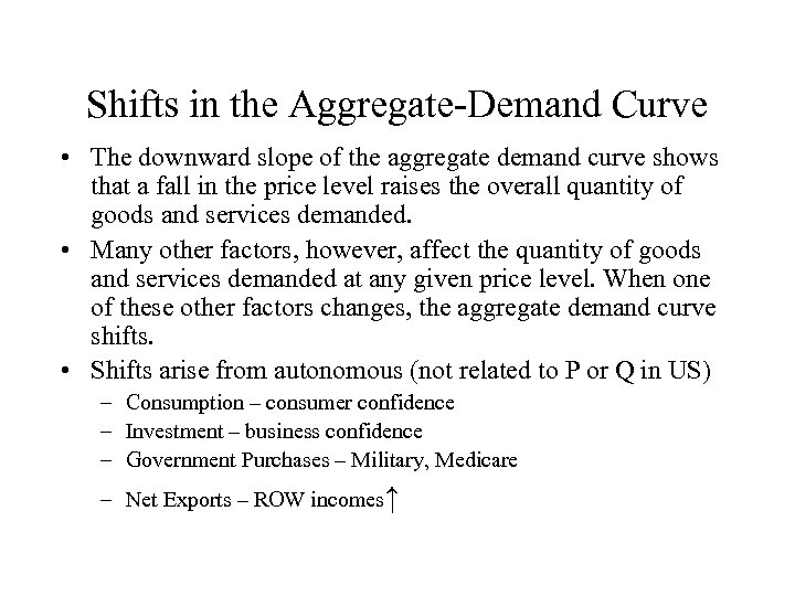 Shifts in the Aggregate-Demand Curve • The downward slope of the aggregate demand curve