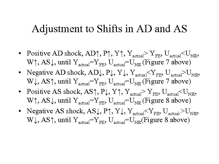 Adjustment to Shifts in AD and AS • Positive AD shock, AD↑, P↑, Yactual>