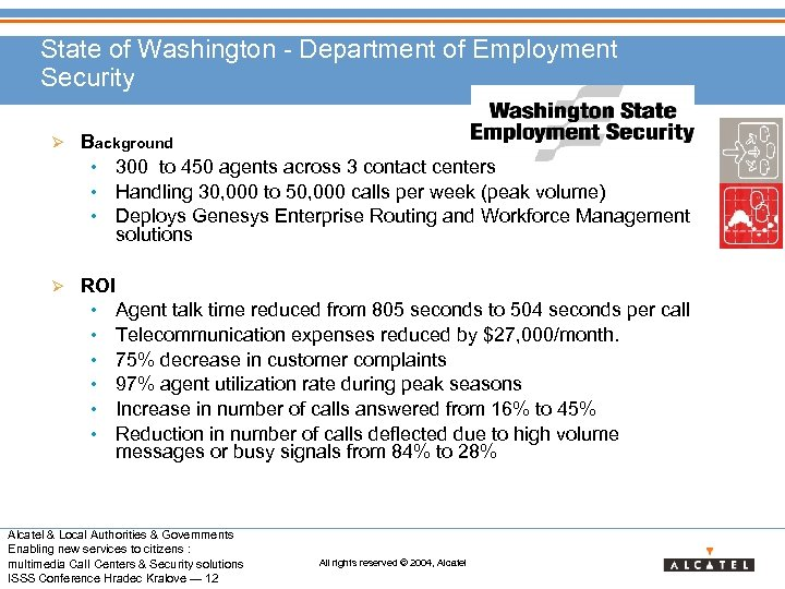 State of Washington - Department of Employment Security Ø Background • 300 to 450