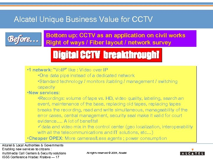 Alcatel Unique Business Value for CCTV Before… Bottom up: CCTV as an application on