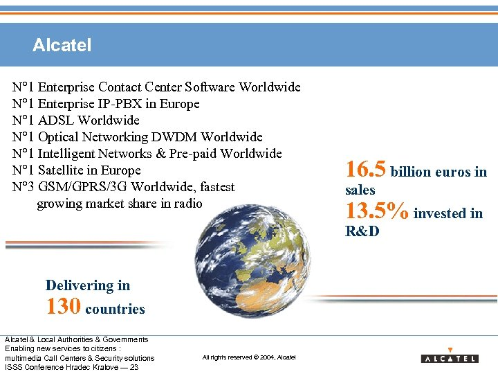 Alcatel N° 1 Enterprise Contact Center Software Worldwide N° 1 Enterprise IP-PBX in Europe