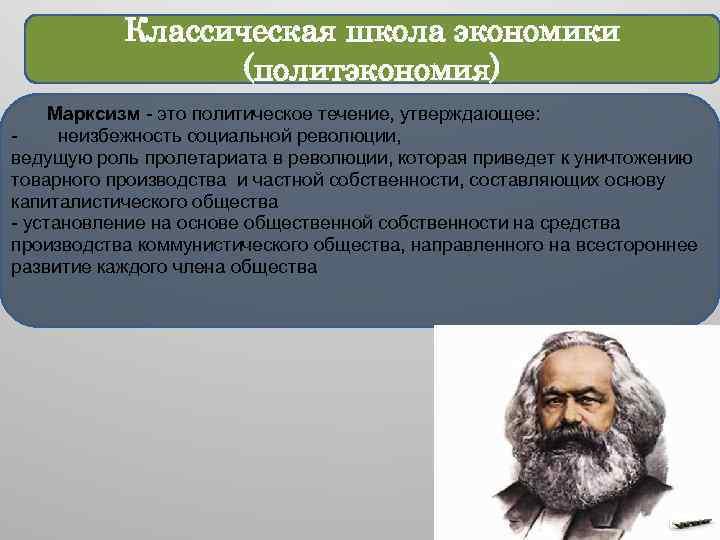 Классическая школа экономики (политэкономия) Марксизм - это политическое течение, утверждающее: неизбежность социальной революции, ведущую