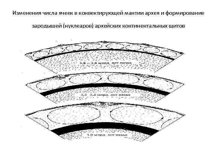 Изменения числа ячеек в конвектирующей мантии архея и формирование зародышей (нуклеаров) архейских континентальных щитов