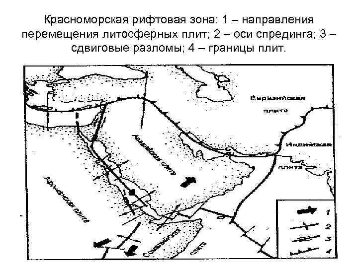 Красноморская рифтовая зона: 1 – направления перемещения литосферных плит; 2 – оси спрединга; 3