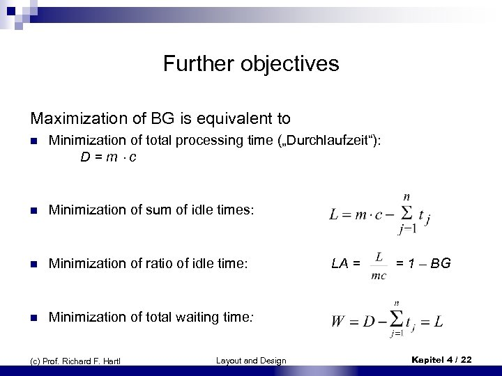 Further objectives Maximization of BG is equivalent to n Minimization of total processing time