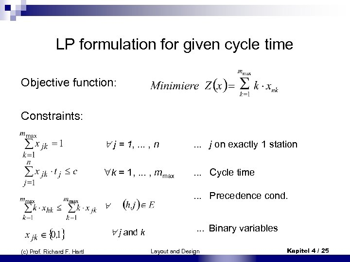 LP formulation for given cycle time Objective function: Constraints: j = 1, . .
