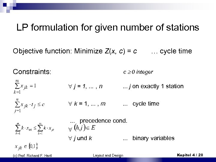 LP formulation for given number of stations Objective function: Minimize Z(x, c) = c