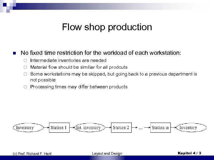 Flow shop production n No fixed time restriction for the workload of each workstation: