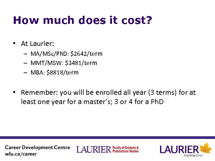 How much does it cost? • At Laurier: – MA/MSc/Ph. D: $2642/term – MMT/MSW: