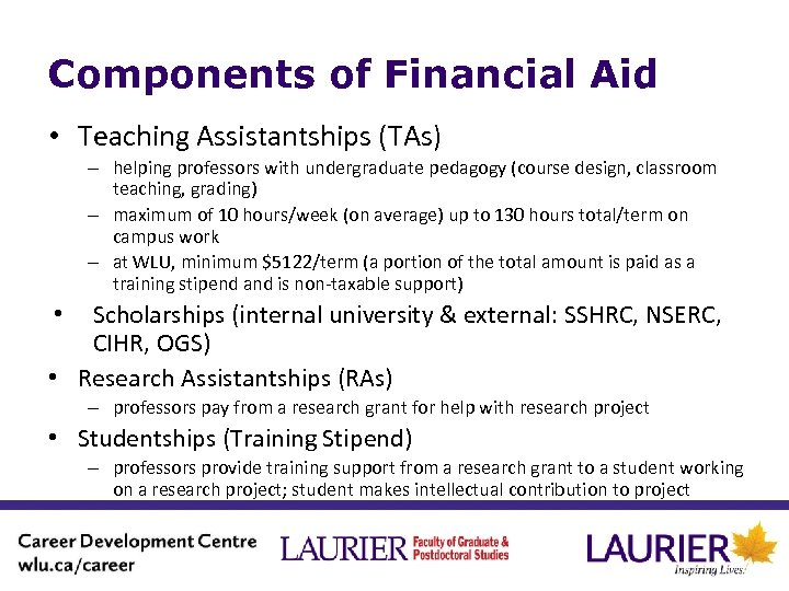 Components of Financial Aid • Teaching Assistantships (TAs) – helping professors with undergraduate pedagogy