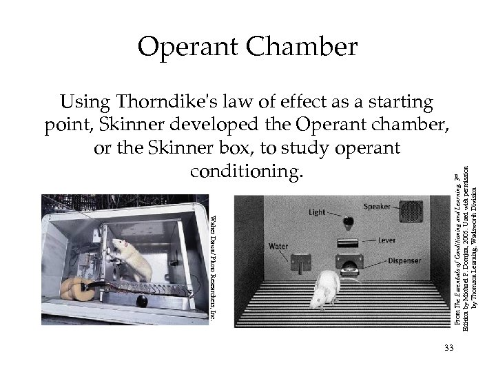 Using Thorndike's law of effect as a starting point, Skinner developed the Operant chamber,