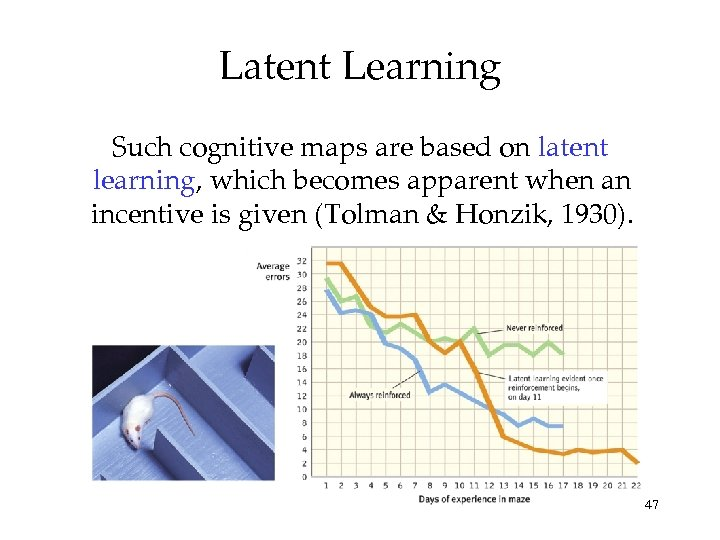Latent Learning Such cognitive maps are based on latent learning, which becomes apparent when