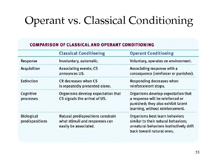 Operant vs. Classical Conditioning 55