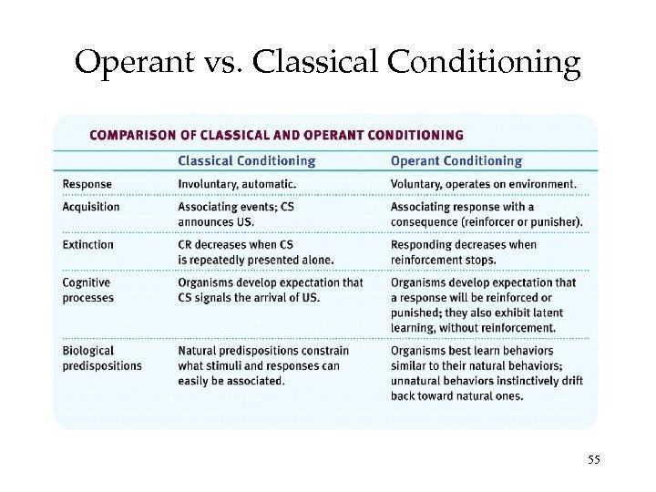 Operant vs. Classical Conditioning 55
