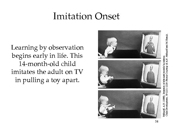 Learning by observation begins early in life. This 14 -month-old child imitates the adult