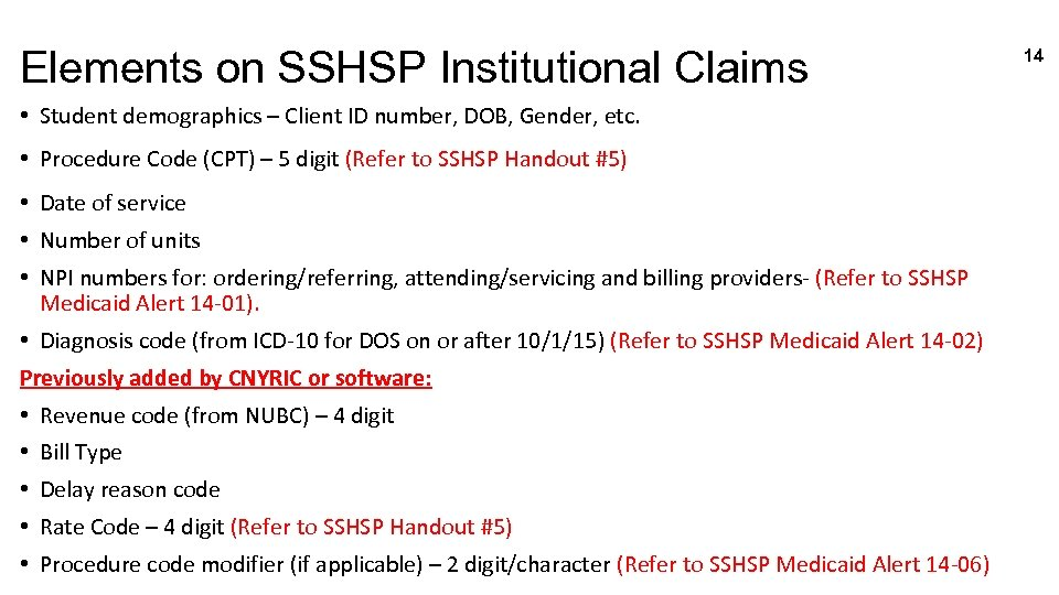 Elements on SSHSP Institutional Claims • Student demographics – Client ID number, DOB, Gender,