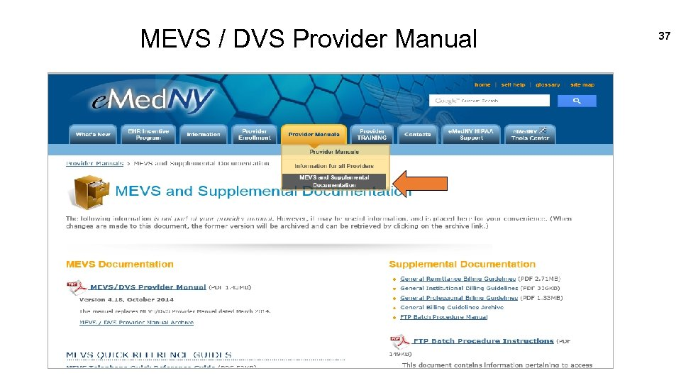 MEVS / DVS Provider Manual 37