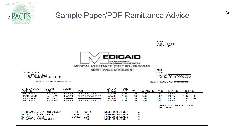Sample Paper/PDF Remittance Advice 72