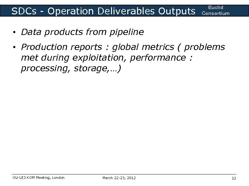 SDCs - Operation Deliverables Outputs Euclid Consortium • Data products from pipeline • Production