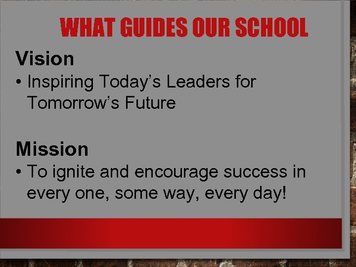 WHAT GUIDES OUR SCHOOL Vision • Inspiring Today's Leaders for Tomorrow's Future Mission •
