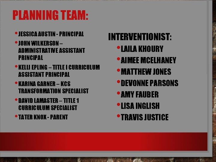 PLANNING TEAM: • JESSICA AUSTIN - PRINCIPAL • JOHN WILKERSON – ADMINISTRATIVE ASSISTANT PRINCIPAL