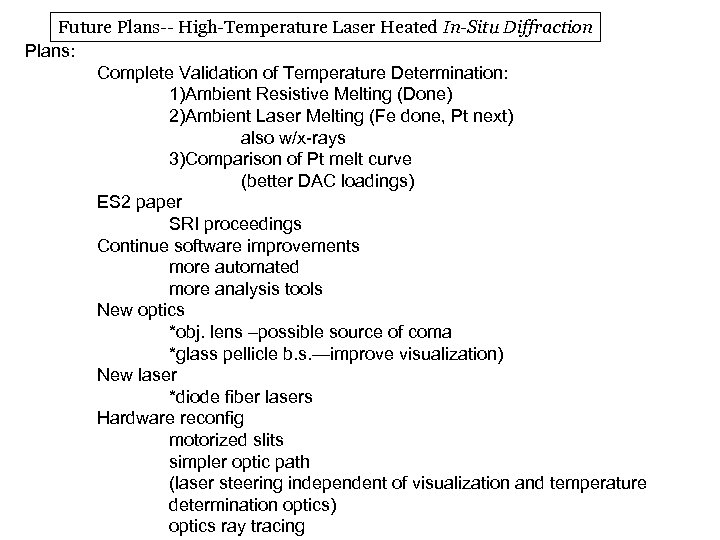 Future Plans-- High-Temperature Laser Heated In-Situ Diffraction Plans: Complete Validation of Temperature Determination: 1)Ambient