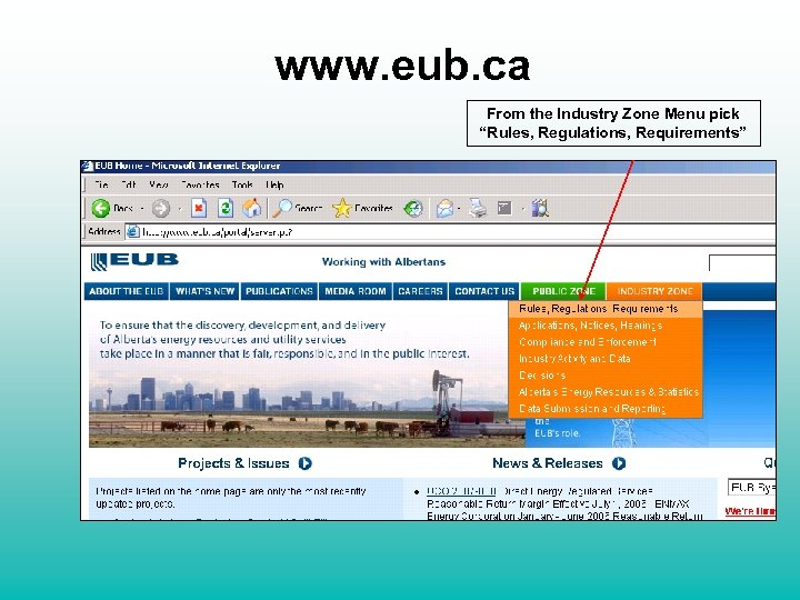 """www. eub. ca From the Industry Zone Menu pick """"Rules, Regulations, Requirements"""""""