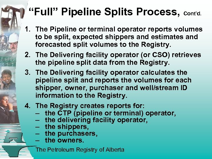 """""""Full"""" Pipeline Splits Process, Cont'd . 1. The Pipeline or terminal operator reports volumes"""