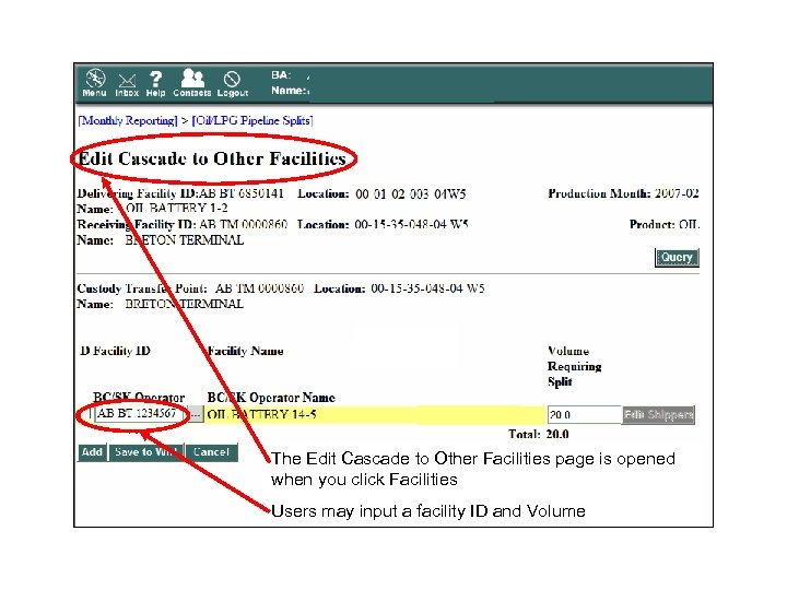 The Edit Cascade to Other Facilities page is opened when you click Facilities Users